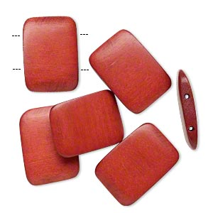 bead, wood (dyed / waxed), rust brown, 30x20mm double-drilled flat rectangle. sold per pkg of 6.