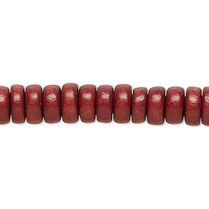 bead, wood (dyed / waxed), rust brown, 8x4mm rondelle. sold per pkg of (2) 16-inch strands.