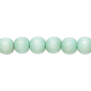 bead, wood (dyed / waxed), sea foam, 7-8mm round. sold per pkg of (2) 16-inch strands.