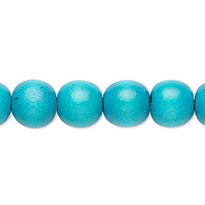 bead, wood (dyed / waxed), turquoise blue, 9-10mm round with 2-2.5mm hole. sold per pkg of (2) 16-inch strands.