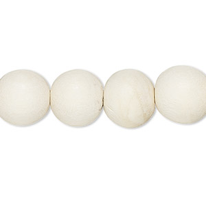bead, wood (dyed / waxed), white, 11-12mm round with 1.5-3mm hole. sold per pkg of (2) 16-inch strands.