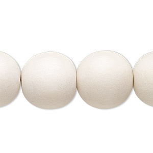 bead, wood (dyed / waxed), white, 15-16mm round with 2-2.5mm hole. sold per 16-inch strand.