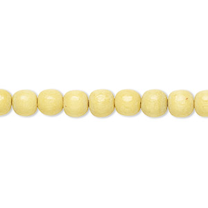bead, wood (dyed / waxed), yellow, 5-6mm round with 0.5-2mm hole. sold per pkg of (2) 16-inch strands.