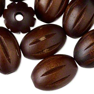 bead, wood (dyed), dark brown, 30x21mm hand-cut fluted oval. sold per pkg of 25.