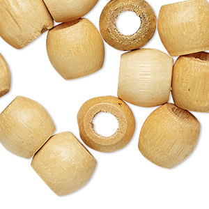 bead, wood (natural), 11.5x11mm barrel. sold per pkg of 24.