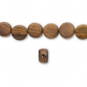 bead, wood (natural), 8mm flat round. sold per pkg of (2) 16-inch strands.