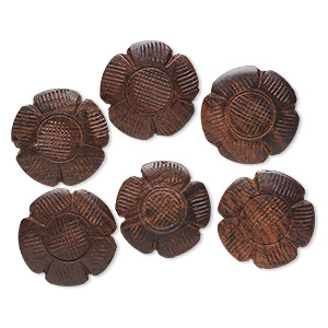 bead, wood (natural), brown, 28x28mm carved flower. sold per pkg of 6.