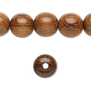 bead, wood (waxed), 12mm hand-cut round. sold per 16-inch strand.
