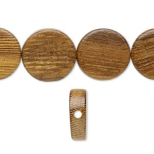 bead, wood (waxed), 14-15mm hand-cut flat round. sold per 16-inch strand.