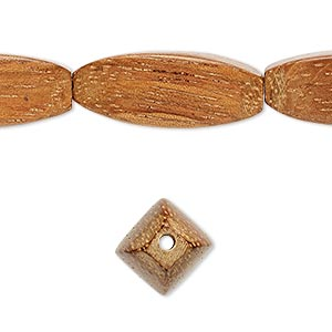 bead, wood (waxed), 25x10mm hand-cut 4-sided oval. sold per 16-inch strand.