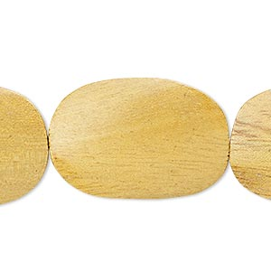 bead, wood (waxed), 40x28mm hand-cut twisted flat oval. sold per 16-inch strand.