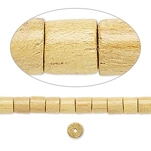 bead, wood (waxed), 4x4mm-5x4mm hand-cut heishi. sold per 16-inch strand.