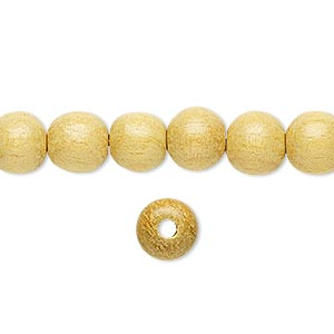 bead, wood (waxed), 7-8mm hand-cut round. sold per 16-inch strand.