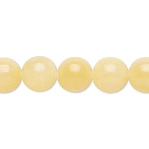 bead, yellow calcite (coated), 10mm round, b grade, mohs hardness 3. sold per 16-inch strand.