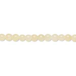bead, yellow calcite (coated), 4mm round, b grade, mohs hardness 3. sold per 16-inch strand.