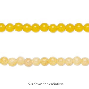 bead, yellow jade (dyed), 4mm round, b grade, mohs hardness 6-1/2 to 7. sold per 16-inch strand.