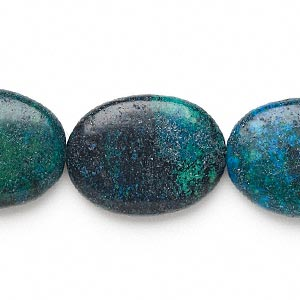 bead, yellow turquoise (dyed), blue, 39x29mm-40x30mm flat oval, c grade, mohs hardness 2-1/2 to 6. sold per 15-inch strand.