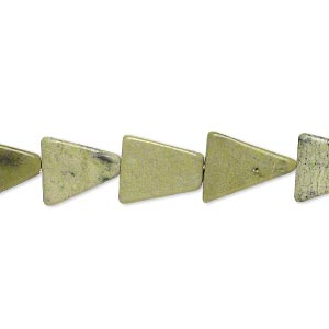 bead, yellow turquoise (natural), 10x10x8mm-13x12x10mm hand-cut flat triangle, c grade, mohs hardness 2-1/2 to 6. sold per 13-inch strand.