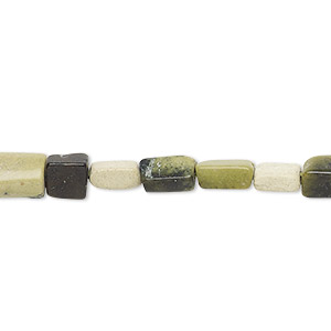 bead, yellow turquoise (natural), 6x4mm-13x6mm hand-cut flat rectangle, c grade, mohs hardness 2-1/2 to 6. sold per 13-inch strand.