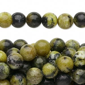 bead, yellow turquoise (natural), 8mm round, c grade, mohs hardness 2-1/2 to 6. sold per pkg of (10) 16-inch strands.