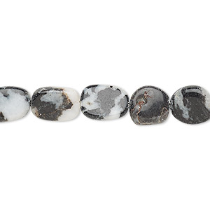 bead, zebra jasper (natural), 7x6mm-13x9mm hand-cut flat oval, c grade, mohs hardness 3. sold per 13-inch strand.