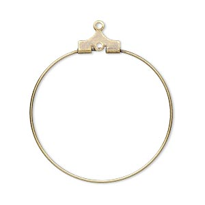 beading hoop, antique gold-plated brass, 30mm round with loop. sold per pkg of 100.
