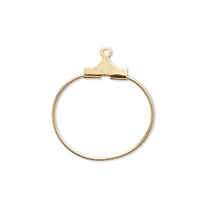 beading hoop, gold-plated brass, 20mm round. sold per pkg of 10.