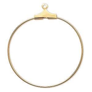beading hoop, gold-plated brass, 30mm round. sold per pkg of 10.