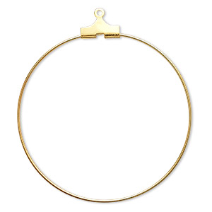 beading hoop, gold-plated brass, 40mm round. sold per pkg of 100.