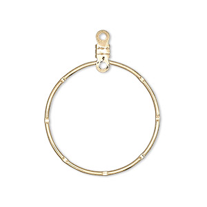 beading hoop, gold-plated steel, 26mm notched closed round with loop. sold per pkg of 100.
