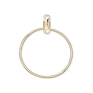 beading hoop, gold-plated steel, 26mm smooth round with closed loop. sold per pkg of 10.