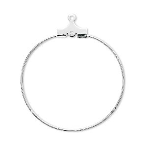 beading hoop, silver-plated brass, 30mm round with loop. sold per pkg of 10.