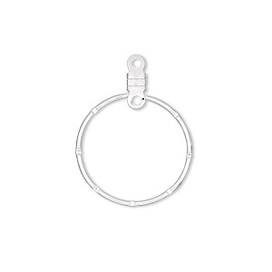 beading hoop, silver-plated steel, 20mm notched round with closed loop. sold per pkg of 10.
