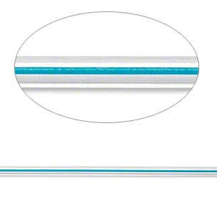 beading wire, accu-cord™, stainless steel and polyurethane, clear and crater lake blue, 7 strand, 2mm round. sold per 20-inch strand.