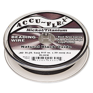 beading wire, accu-flex, nylon / nickel / titanium, black, 1 strand, 0.012-inch diameter. sold per 30-foot spool.