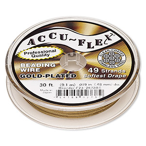 beading wire, accu-flex, nylon and 24kt gold-plated stainless steel, clear, 49 strand, 0.019-inch diameter. sold per 30-foot spool.