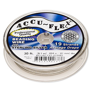 beading wire, accu-flex, nylon and .925 sterling silver, clear, 19 strand, 0.024-inch diameter. sold per 30-foot spool.