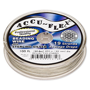 beading wire, accu-flex, nylon and .925 sterling silver, clear, 19 strand, 0.024-inch diameter. sold per 100-foot spool.