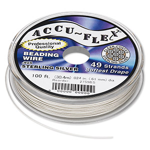 beading wire, accu-flex, nylon and .925 sterling silver, clear, 49 strand, 0.024-inch diameter. sold per 100-foot spool.