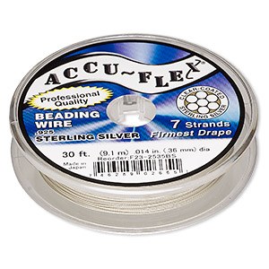 beading wire, accu-flex, nylon and .925 sterling silver, clear, 7 strand, 0.014-inch diameter. sold per 30-foot spool.