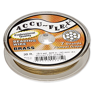 beading wire, accu-flex, nylon and brass, clear, 7 strand, 0.024-inch diameter. sold per 30-foot spool.
