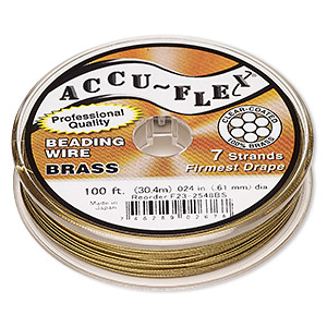 beading wire, accu-flex, nylon and brass, clear, 7 strand, 0.024-inch diameter. sold per 100-foot spool.