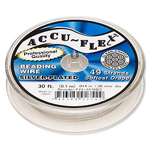 beading wire, accu-flex, nylon and silver-plated stainless steel, clear, 49 strand, 0.014-inch diameter. sold per 30-foot spool.
