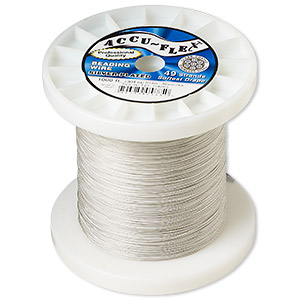 beading wire, accu-flex, nylon and silver-plated stainless steel, clear, 49 strand, 0.019-inch diameter. sold per 1,000-foot spool.