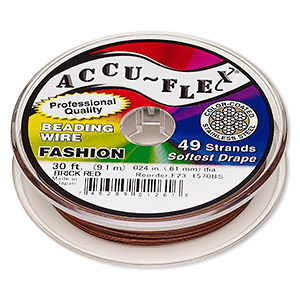 beading wire, accu-flex, nylon and stainless steel, brick red, 49 strand, 0.024-inch diameter. sold per 30-foot spool.