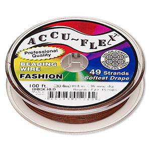 beading wire, accu-flex, nylon and stainless steel, brick red, 49 strand, 0.014-inch diameter. sold per 100-foot spool.