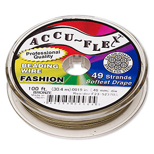 beading wire, accu-flex, nylon and stainless steel, bronze, 49 strand, 0.019-inch diameter. sold per 100-foot spool.