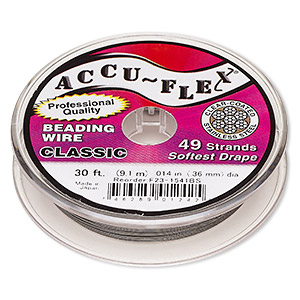 beading wire, accu-flex, nylon and stainless steel, clear, 49 strand, 0.014-inch diameter. sold per 30-foot spool.