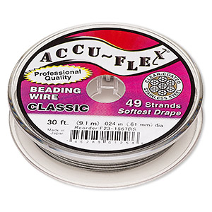 beading wire, accu-flex, nylon and stainless steel, clear, 49 strand, 0.024-inch diameter. sold per 30-foot spool.