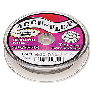 beading wire, accu-flex, nylon and stainless steel, clear, 7 strand, 0.007-inch diameter. sold per 100-foot spool.